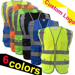 Venta al por mayor de Envío gratis chaleco de seguridad reflectante impresión de logotipo ropa de trabajo hi vis ropa chaleco de seguridad Chaleco reflectante de alta visibilidad bolsillos múltiples