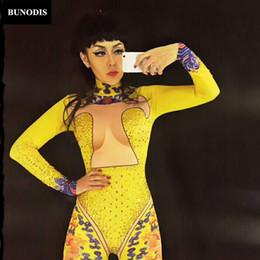 $enCountryForm.capitalKeyWord Australia - BU039 Blue Dragon Gold Rhinestone Sexy Jumpsuit Women Singer Dancer Stage Wear Bodysuit Leggings Costume Glisten Stone Clothing