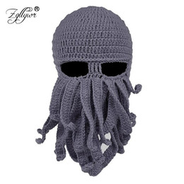 206ebdfacf6 Zgllywr Winter Face Mask Octopus Wool Hand Woven Mask Balaclavas Funny Hat  Knit Hat for Snow Windproof Warm Knitted Beanie