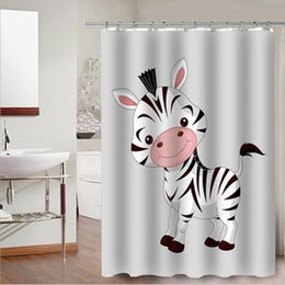 Wholesale Cute Animal Fashion Home Bathroom Decoration Waterproof Polyester Fabric Shower Curtain With 12 Hooks Affordable Curtains