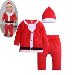 Reindeer Girls Set UK - INS winter kids christmas santa top pants hats clothes set childrens baby girl outfits toddler boys reindeer tops pants infant 3pcs set