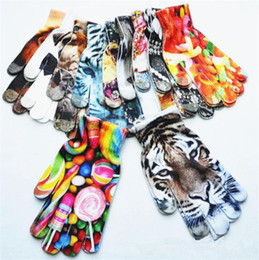 Discount touch fingers - Kids 3D Printed knitted gloves Spring Warm Glove Children Boys Girls Cute Animal Vivid Face cartoon Touch Screen Gloves