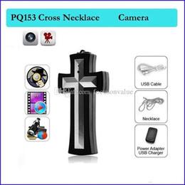 Discount mini necklace camera - 16GB mini DV Cross necklace camera cross pendant DVR video recorder Mini Camcorder wearable body worn Camera 30pcs