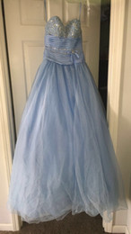 $enCountryForm.capitalKeyWord NZ - 2019 New Baby Blue Puffy Ball Gown Quinceanera Dresses Crystals For 15 Years Sweet 16 Plus Size Pageant Prom Party Gown QC1066
