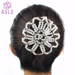 Crochet Snood Hair Net Australia - Best quality Fashion Lady Elastic hair net handmade crochet pearl hair Snood Net Ballet Bun Covers Ornament for women