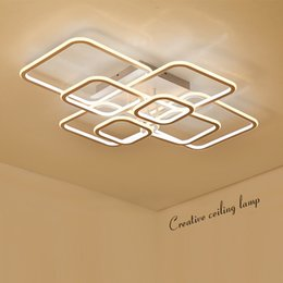 Discount light fixtures for high ceilings - High Brightness modern led ceiling lights for living room bedroom Square Circle Rings avize Ceiling Lamp Fixtures