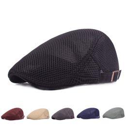 Großhandel FEDEX Männer Barett Kappe Ivy Cap Breathable Mesh Hat Cabbie flach kappen ansehnlich ausgestattete feste Kappen für Männer schnappen