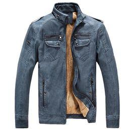 Korean Motorcycle Jacket Australia - 2018 PU Faux Casual Man Jackets Men Leather Jacket Male Coats Winter Warm Velvet Hombre korean Moto Motorcycle Outerwear