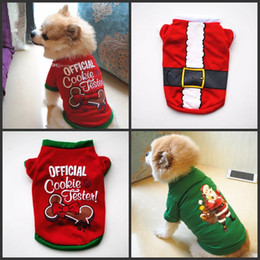 Wholesale Christmas Pullover Hoodies Dog Clothes Pet Dog Cat Costume Shirt Sweater For Santa Snowman Belt Casual Clothes XS S M L