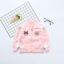 funny baseball Canada - Baby Outerwear & Coats 2018 Autumn Funny Embroidery Baseball Jackets For Girls Boys New Fashion Design Children Clothing