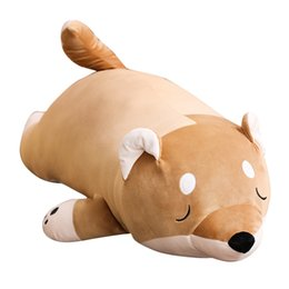 stuffed animal beds 2019 - Super Soft Dog Plush Pillow Cute Shiba Inu Stuffed Cartoon Animal Toys Sofa Bed Pillow Cushion Doll Children Girl Birthd
