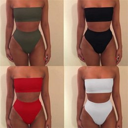 ef929b5ae12 SwimSuit tube topS online shopping - Beach Swimwear High Waist Two Piece  Suits Woman Swimsuit Lady