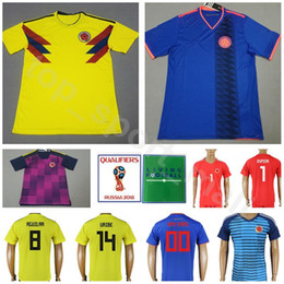 2d4d4058938 2018 World Cup Colombia Soccer Jersey Men 13 MINA 17 MOJICA 14 MURIEL Football  Shirt Kits 19 BORJA 1 OSPINA National Team Home Yellow Blue