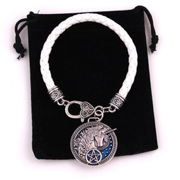 $enCountryForm.capitalKeyWord Canada - Cool Special Unicorn Pentagram Silver With Blue Enamel Medieval Celtic Unicorn With Stars Leather Chain Bracelet Drop shipping