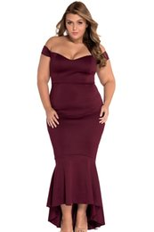 Chinese  Summer Party Dress 2018 Black  Maroon Big Size Xxloff -Shoulder Mermaid Jersey Maxi Dress8 manufacturers