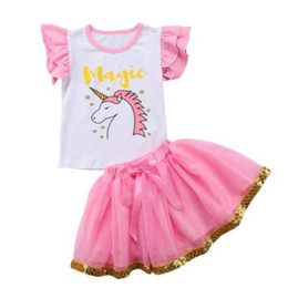 China Kids Baby Girl Cartoon magic Unicorn Ruffles Top T shirt Lace child shirt tutu skirt suit Outfit Clothes Summer Kid Girls Clothing Set supplier baby magic set suppliers