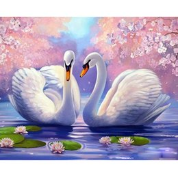 Number Blocks Australia - Hot sale double swans diy oil painting paint by number delicate color block 40cm * 50cm size no frame freeshipping wholesale beautiful photo