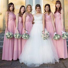 Lavender Blush Wedding Dress Australia - Blush Pink Bridesmaid Dress For Wedding Guest Crew Neck Sleeveless Floor Length Belt Chiffon Applique Lace Formal Arabic Maid Of Honor Dress