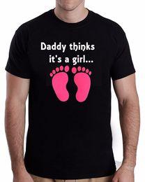 $enCountryForm.capitalKeyWord NZ - 100% Cotton T Shirt For Boy Men's Crew Neck Novelty Short Daddy's Thinks It's A Girl Gender Reveal Tees T-shirt Men Male Fashion Custom Shor