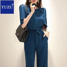 e22ab3e6c3c0 Rompers womens jumpsuit cape sleeve clock o-neck Noble Royal blue dungarees  bow Lacing belt fashion nova long pants overalls