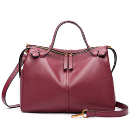 Real Leather Boston Bags New Arrival Women s Handbags Fashion Wholesale Cowhide  Tote Bags with Long Strap f3558858b6241