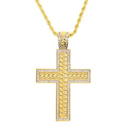 China Top quality mens jewelry cross pendant unique design cuban link chain two tone gold color rope chain cross cz necklace for  women men 2018 suppliers