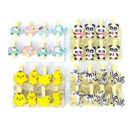 Wooden Stationery NZ - 8Pcs lot Wooden Photo Clip Cute Zebra Duck Panda Elephant Clothespin Picture Craft Clips DIY Clothes Paper Peg Stationery