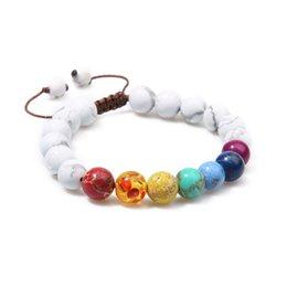 China White Howlite Beaded Bracelet Natural Gem Stone 7 Chakra Yoga Mala Beads Tibetan Buddhist Meditation Braid Rope cheap meditation set suppliers