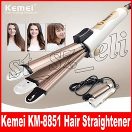 Discount ceramic heated hair rollers - Kemei 3 In 1 Hair Straightener EU Plug Hair Curling Iron Multifunction corrugated Flat Iron Corn Plate Heated Roller KM-