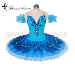 Wholesale blue bird variation tutu adult girls professional ballet tutus blue classical ballet stage costume for women pancake tutu skirtBT9027