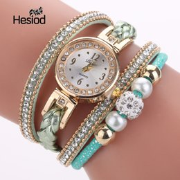 Wholesale Hesiod New Casual Multilayer Leather Bracelet Watch for Women Crystal Imitation Pearl Beads Rope Wristwatches