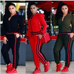 zips baseball 2018 - Womens Casual Fashion Autumn Long Sleeved Two-piece Jogger Set Ladies Fall Tracksuit Sweat Suits discount zips baseball