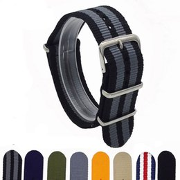 Red Nylon Watch Band NZ - 1PCS Canvas Fabric Nylon Watch Straps Bands Black Army Green Brown Gray Striped Replace Wristwatch bracelet Width 18mm 20mm 22mm