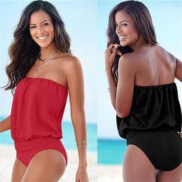 df092cb981 Summer Lady Polychromatic Swimsuit Bathing Suit Sexy One Piece Bikini Women  Strapless Boob Tube Top Off Shoulder Swimwear 9 9xa W