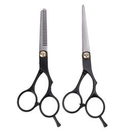 Cutting Straight Hair Australia - 2PCS 6 Inch Hairdressing Scissors Professional Barber Hair Cutting Straight Thinning Scissors Stainless Steel Hairdresser Shears