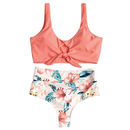 95d4e8a35a689 wholesale Sexy High Waisted Bikini Set For Women Knotted Swimsuit Floral Bikini  Swimwear Scoop Neck Padded Biquni Bathing Suit