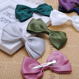 High Quality Hair Clip Bow Australia - 2pcs high quality 3 1 2 inches solid satin hair ribbon bows with single prong clip girls hair pin kids clip 2015 NEW