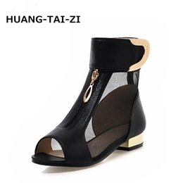 casual men elegant shoes 2019 - wholesale 2018 Summer New Elegant Brand Mesh Sandals Metal Decoration Peep Toe Shoes Woman Low Heels Large Size 34-43 Fo