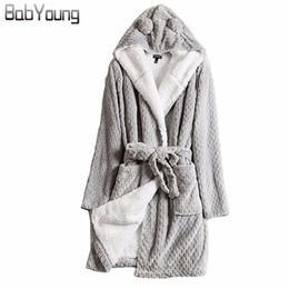BabYoung Winter Robes for Women Bathrobe Hooded Thick Warm Towel Flannel  Cashmere Sleepwear Long Robe Nightgown Kimono Robe Gray C18110301 e11e86560