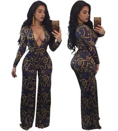 Plus Size V Neck Jumpsuit Canada - Autumn National Dashiki Print Wide Leg Leotard Sexy Deep V Neck Belted Long Jumpsuit Plus Size Women One Piece Outfits Rompers