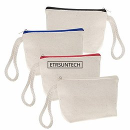 $enCountryForm.capitalKeyWord NZ - 120pcs lot High quality blank canvas zipper pouches cotton cosmetic Bags makeup bags Mobile phone bag With Rope