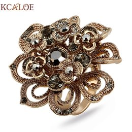 $enCountryForm.capitalKeyWord NZ - KCALOE Antique Titanium Gold Big Flowers Rings For Women Luxury Brown Crystal Rhinestone Women Engagement Ring Accessories S18101607