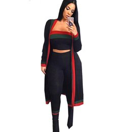 $enCountryForm.capitalKeyWord UK - 2018 Summer Women Striped Printed Crop Top Long Pant Trench Coat 3 Piece Set Sexy Black Tracksuits Clothing Set
