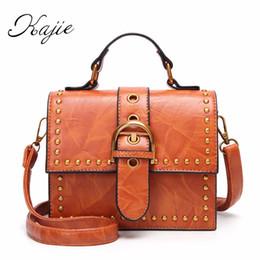 $enCountryForm.capitalKeyWord NZ - Kajie Retro Rivet Pu Leather Belt Women Small Totes Ladies Shoulder Bag Woman Bags 2018 Bag Handbag Fashion Handbags Hot Sale