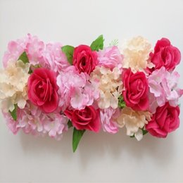 White Pink Mix Rose Flower Australia - 20x 50CM Upscale Wedding Road Cited Flower Row Rose Hydrangea Mix DIY Arch Door Flower Arrangement Party T Station Decoration