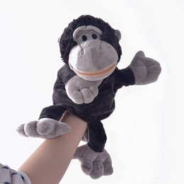 Discount hand puppets for kids - for kids New Arrival Monkey Plush Velour Animals Hand Puppets for Kid Child Gifts Learning Aid Toy Wholesale