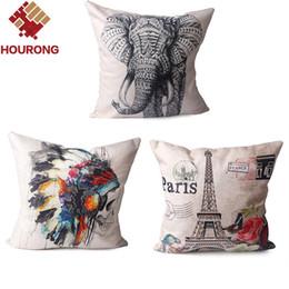 Wholesale  1Pcs 45*45cm Vintage Paris Eiffel Tower Parrot Flower Home  Decorative Cotton Linen Indian Pillow Case Elephant