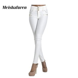 4169c634fdb9 Donna Women White Jeans 3 Buttons High Waist Skinny Stretch Material Denim  Jean Trousers Elegant Elastic Slim Pencil Pants K33C