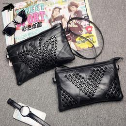 Tie Thread Canada - Rivets Women Fashion Genuine Leather Plaid Flap Bag Female Thread Handbags Lady Shoulder Bags Straps Totes Envelope Bag Clutch