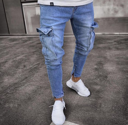 синие джинсы оптовых-Mens Jeans Ripped Pocket Blue Solid Color Denim Pants Mens Slim Fashion High Street Biker Jeans Male Long Trousers Pencil Pants Jeans